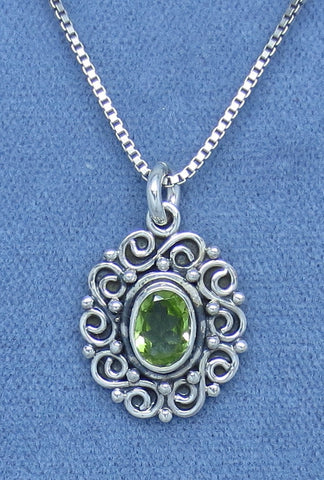 Petite Genuine Peridot Necklace - Sterling Silver - Victorian Filigree Design - Oval - Hand Made - A170725