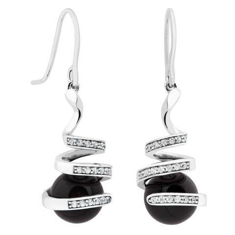 Silver Elegance Black Onyx and White Topaz Swirl Earrings - Sterling Silver - Made to Order -  PESE2009OX