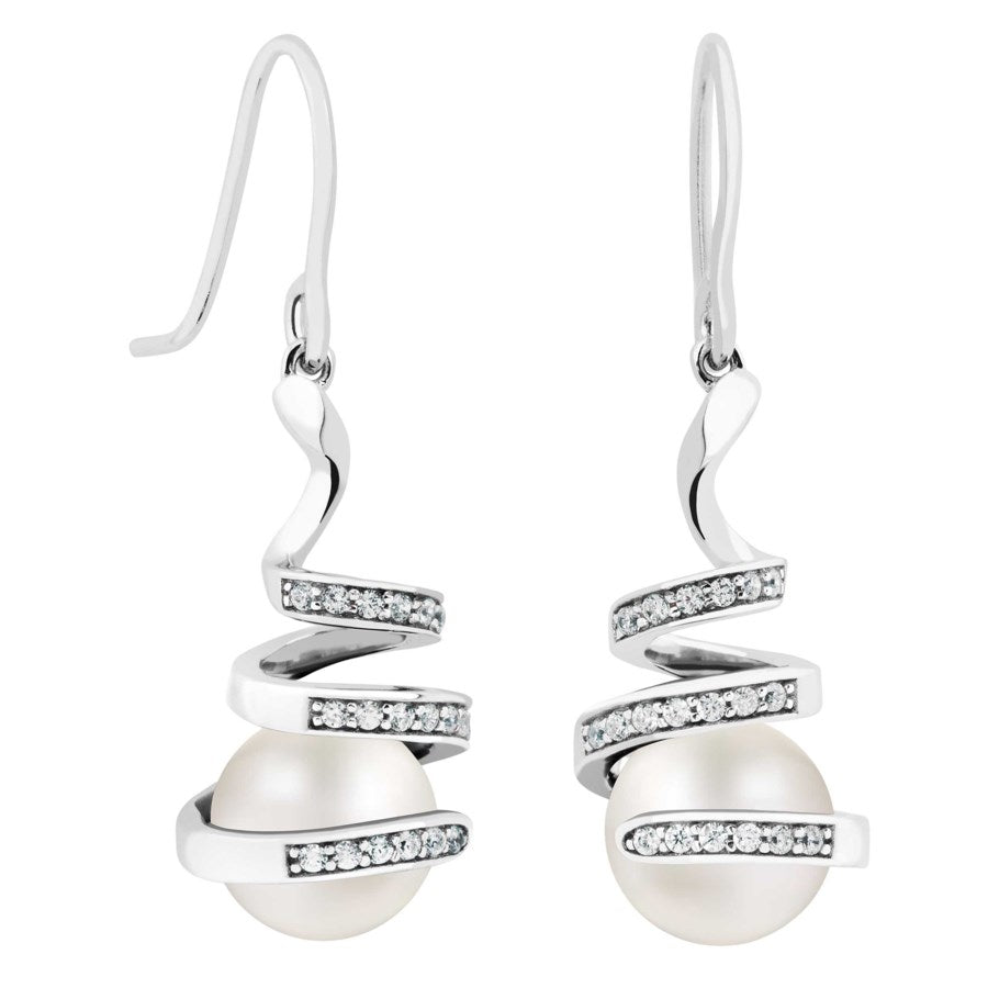 Silver Elegance Pearl and White Topaz Swirl Earrings - Sterling Silver - Made to Order - PESE2009WP