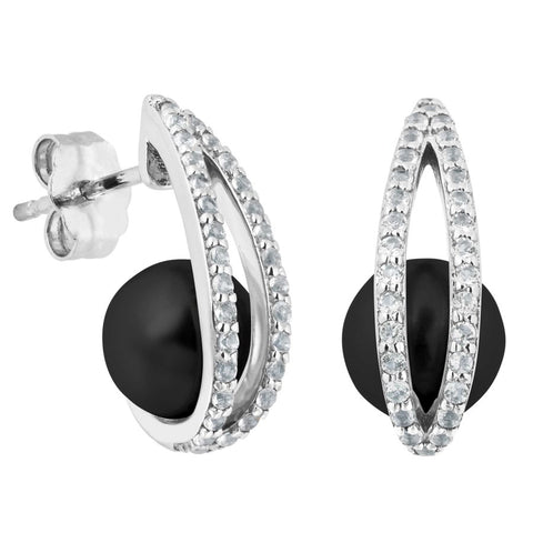 Silver Elegance Black Onyx and White Topaz Sparkle Earrings - Sterling Silver - Made to Order -  PESE2010OX