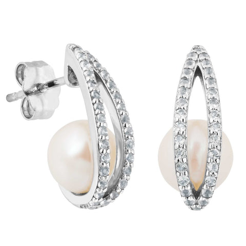 Silver Elegance Pearl and White Topaz Sparkle Earrings - Sterling Silver - Made to Order - PESE2010WP