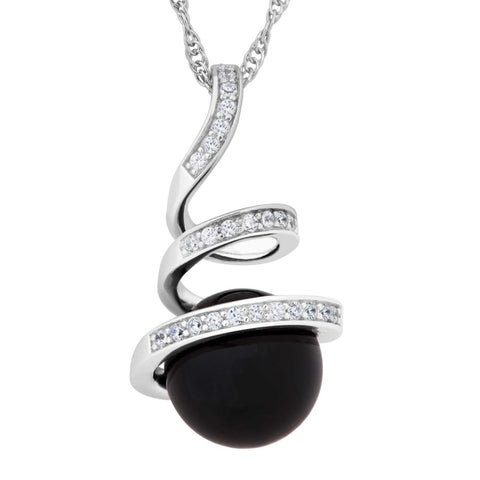 Silver Elegance Black Onyx and White Topaz Swirl Necklace - Sterling Silver - Made to Order - PESP2009OX