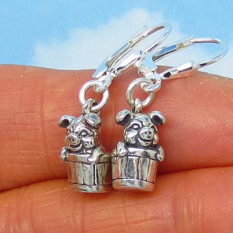 Tiny Pig in a Bucket Earrings - Sterling Silver - Leverback Dangle - Pig Earrings - 3D - Three Dimensional - su171163
