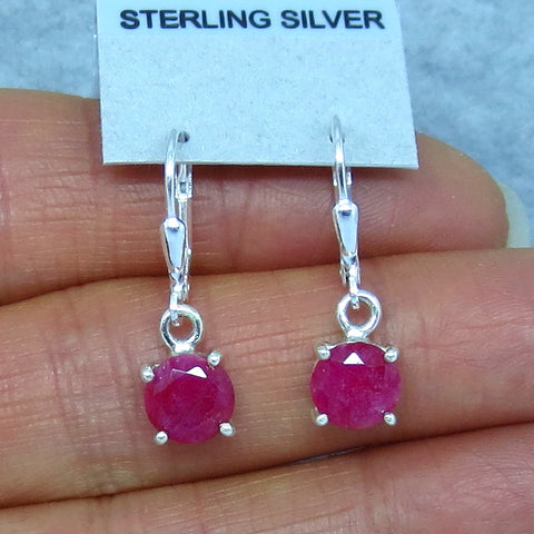 7mm Genuine Ruby Earrings - Leverback - Sterling Silver - Raw Ruby - India Ruby - Faceted - Cut - Round - 171407p