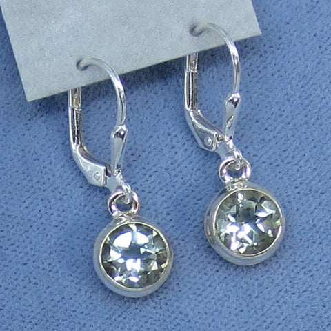 Genuine Prasiolite Green Amethyst 7mm Round Leverback Earrings - Sterling Silver - Handmade - Green Quartz - 171453