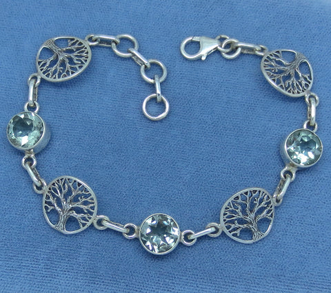 Genuine Prasiolite Green Amethyst Bracelet - Sterling Silver - Tree of Life - Celtic - 163072