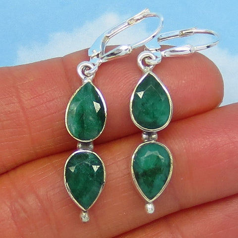 6.8ctw Natural Raw Emerald Earrings - Leverback Dangle - Sterling Silver - 9x6mm Pear - Long Dangles - Genuine Emerald -- 171608