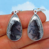 Merlinite Dendrite Opal Earrings - Sterling Silver - Leverback Dangle - Large Pear - Simple - Dendritic Opal Agate - 181708