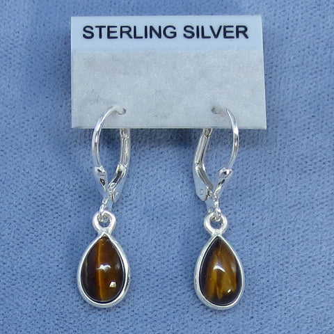 Dainty Tiger Eye Leverback Earrings - Sterling Silver - 180901