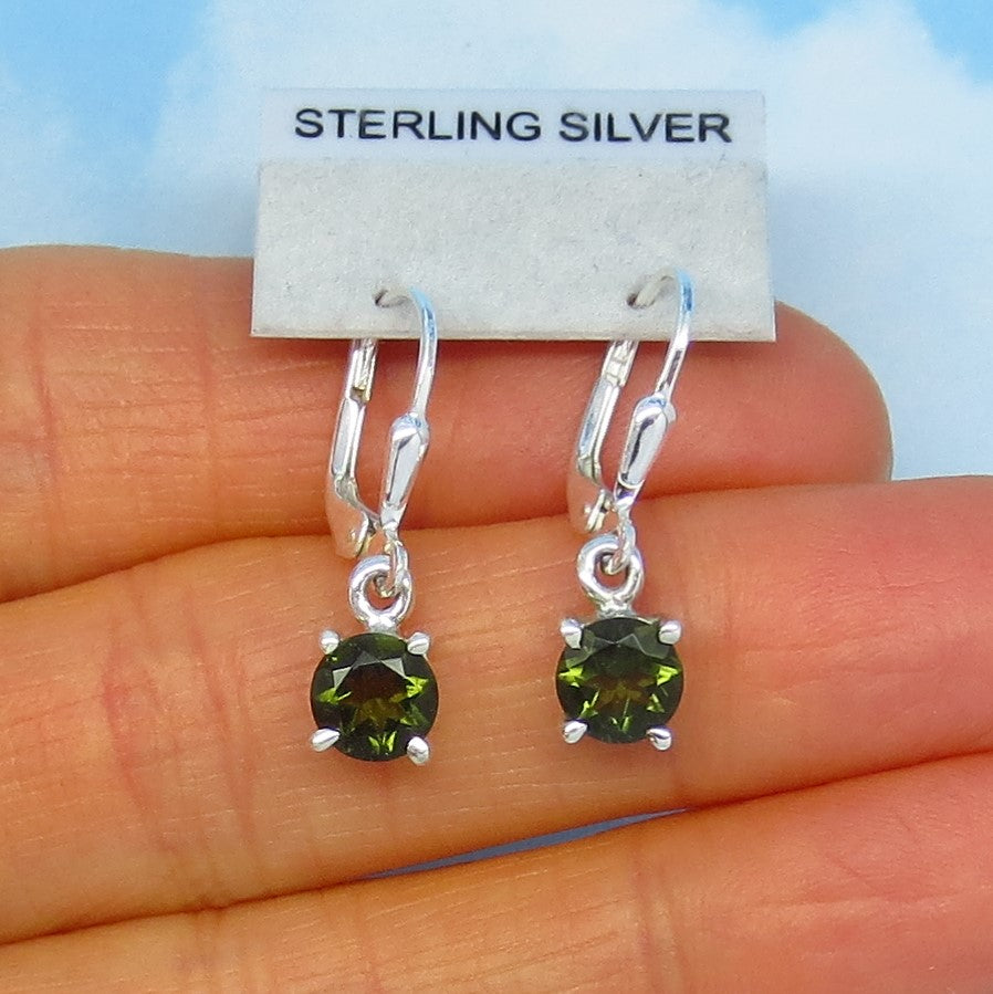 Faceted Czech Moldavite Earrings - Sterling Silver - Leverback Dangle - 6mm Round - Natural Genuine Tektite Meteorite Earrings - 182206