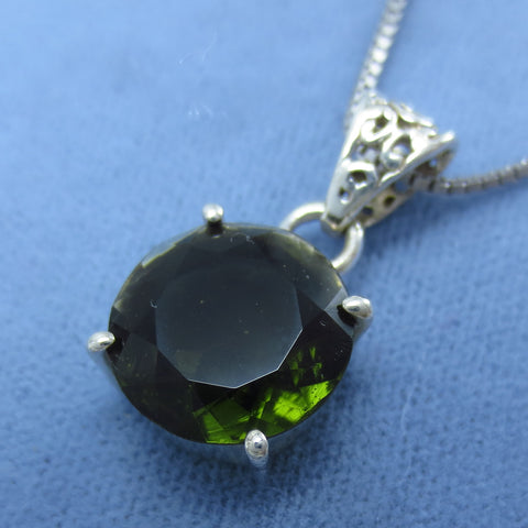 12mm Round Faceted Czech Moldavite Pendant Necklace Sterling Silver P163976
