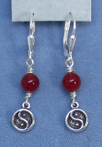 Genuine Red Jadeite Jade Yin Yang Leverback Earrings - Sterling Silver - 150581