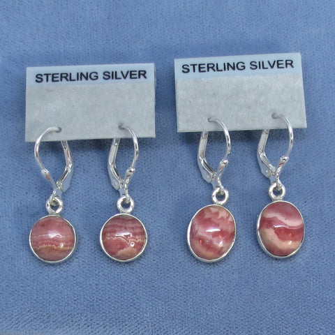 Small Genuine Rhodochrosite Earrings - Leverback - Sterling Silver - Choice of Round or Oval - 171506 171606