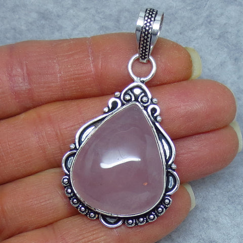 Genuine Rose Quartz Pendant - Sterling Silver - Vintage Filigree Victorian Design - Large - 171256