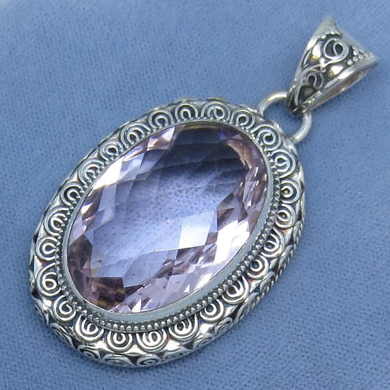 a9a9e727b Extra Large Pale Pink-Violet Amethyst Pendant - Sterling Silver - Oval -  Vintage Victorian Design - 181124
