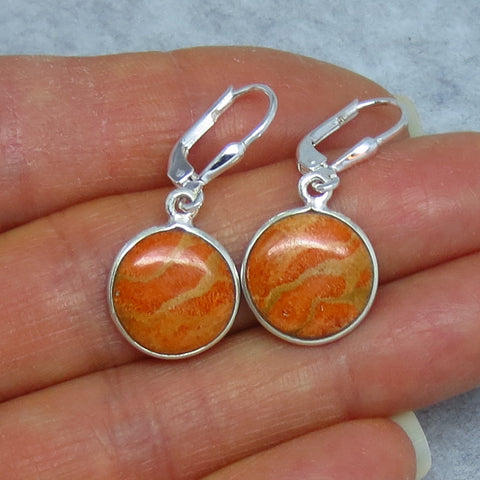 Italian Coral Leverback Earrings - Sterling Silver - Small Round Simple Dainty - 181504