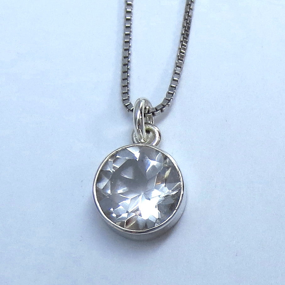 10mm Genuine White Topaz Necklace - Sterling Silver - Round - Large - P210603