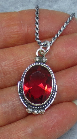 Ruby Red Quartz Necklace - Sterling Silver - Rope Chain - Victorian Design - Oval - P170603