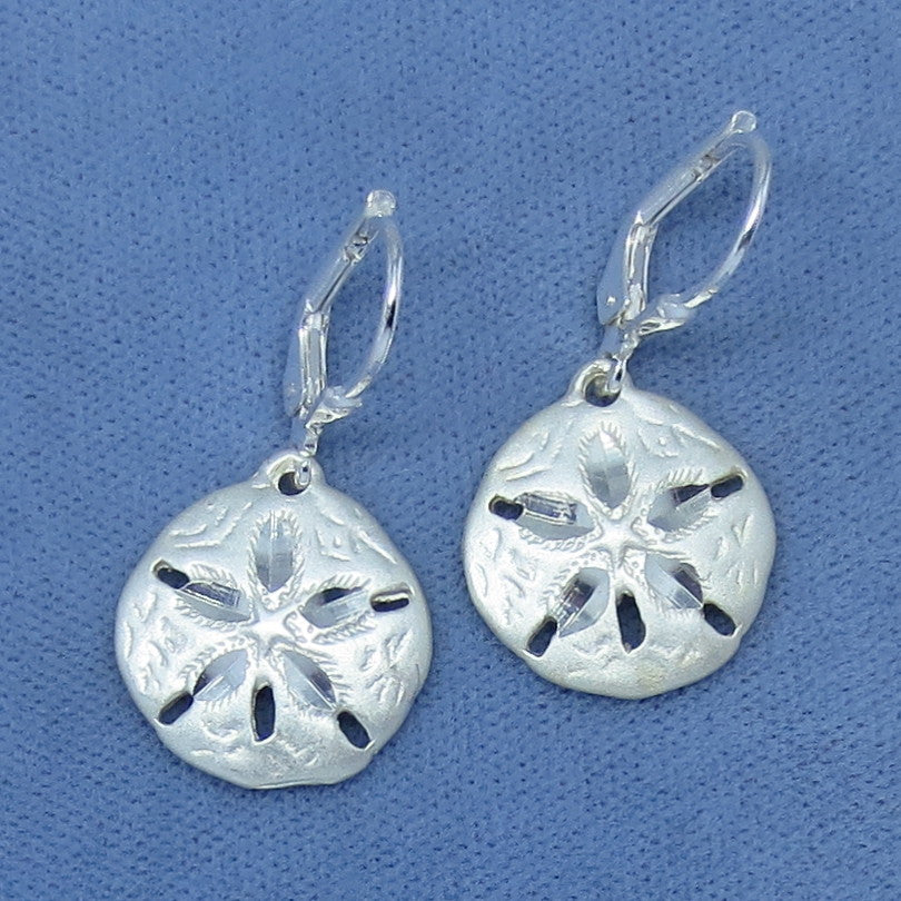Sand Dollar Leverback Earrings - Sterling Silver - Made in Italy - 180942