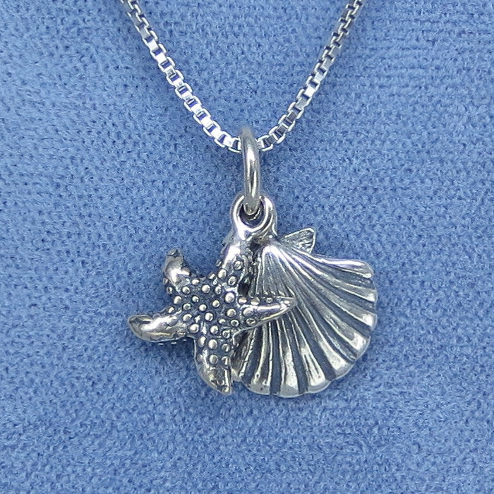 Mini Starfish & Sea Shell Pendant Necklace - Sterling Silver - Scallop - 211225