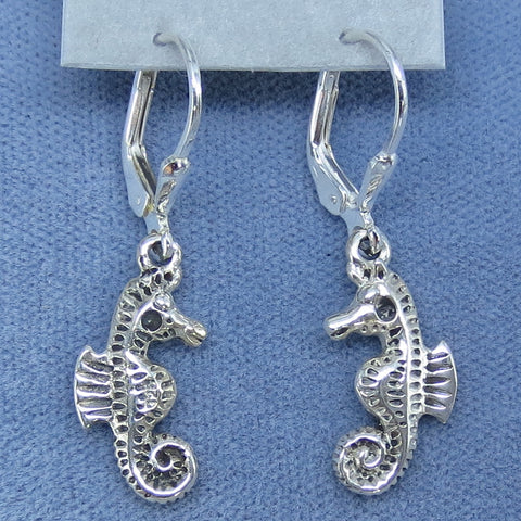 Seahorse Earrings - Leverback - Sterling Silver - 3D - Handmade -- 250771