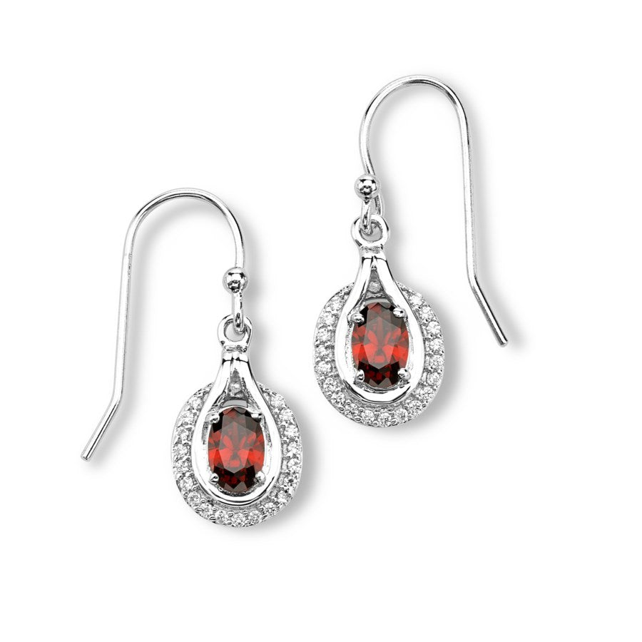 Silver Elegance Red and Clear CZ's Oval Earrings - Sterling Silver - Handmade - - SESE1141