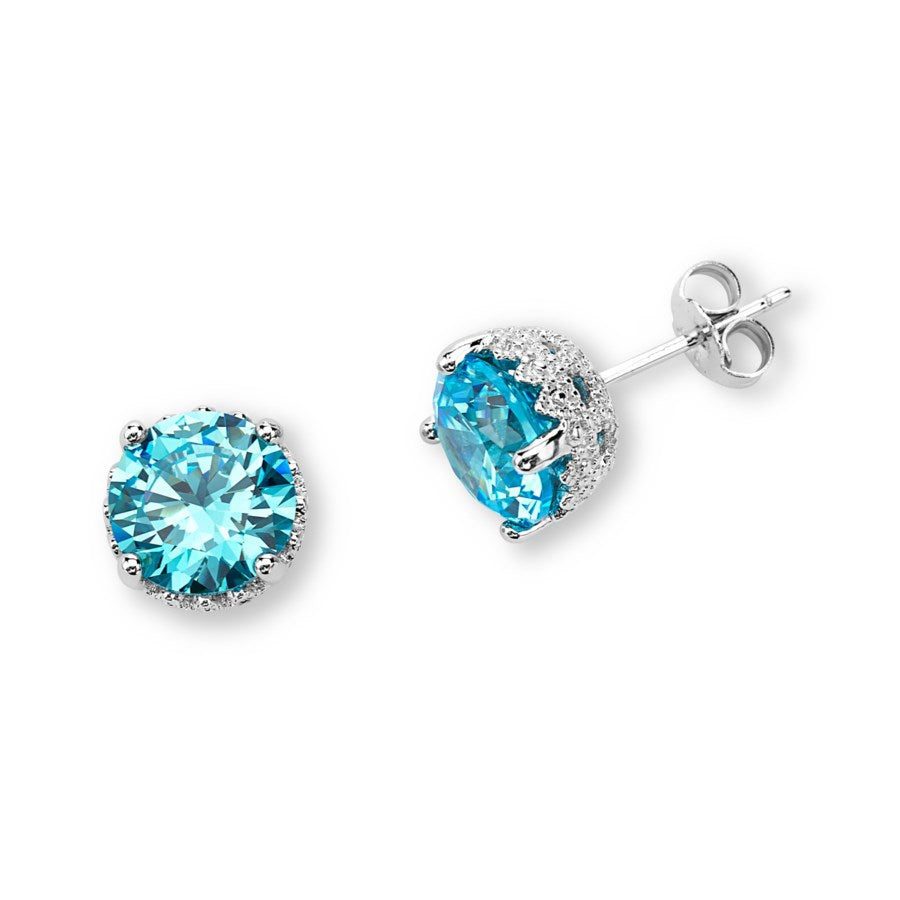 Silver Elegance 8mm Blue CZ's Post Earrings - Sterling Silver - Handmade - SESE817BTCZ