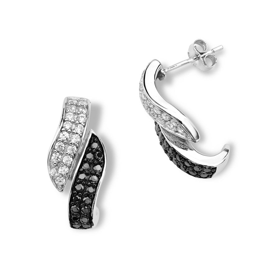 Silver Elegance Black and White CZ Twist Post Earrings - Sterling Silver - Made to Order -  SESE825