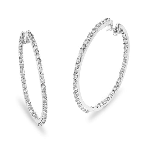 Silver Elegance Clear CZ Hoop Earrings - Sterling Silver - Made to Order -  SESE913