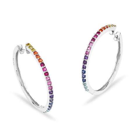 Silver Elegance CZ Multi Color Front Hoop Earrings - Sterling Silver - Made to Order - SESE914