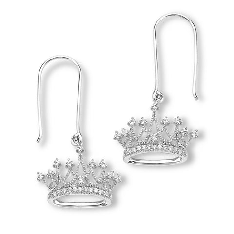 Silver Elegance CZ Crown Earrings - Sterling Silver - Made to Order - SESE917