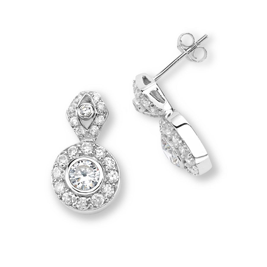Silver Elegance Multi CZ Ornate Post Earrings - Sterling Silver - Made to Order -  SESE919
