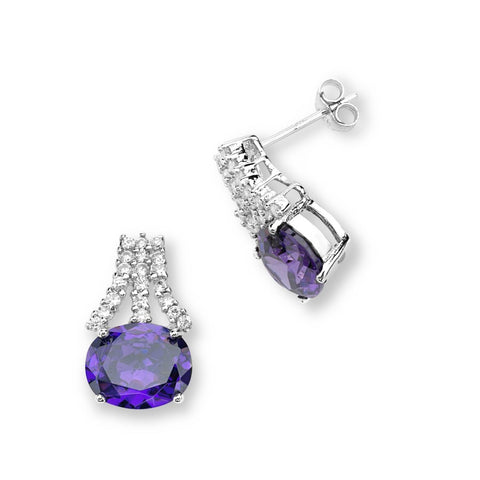 Silver Elegance Purple CZ Horizon Post Earrings - SESE940 - Clear CZ Accents - Sterling Silver - Made to Order