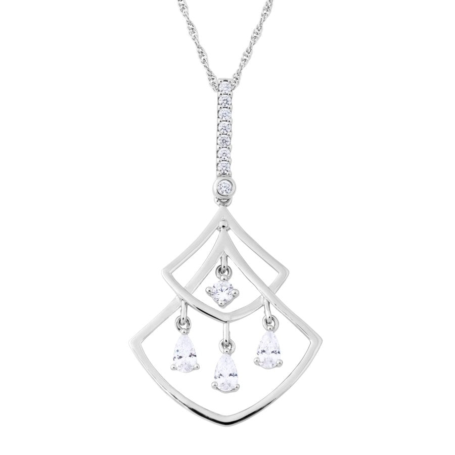 Silver Elegance CZ Double Fan Necklace - Sterling Silver - Made to Order -  SESP1012