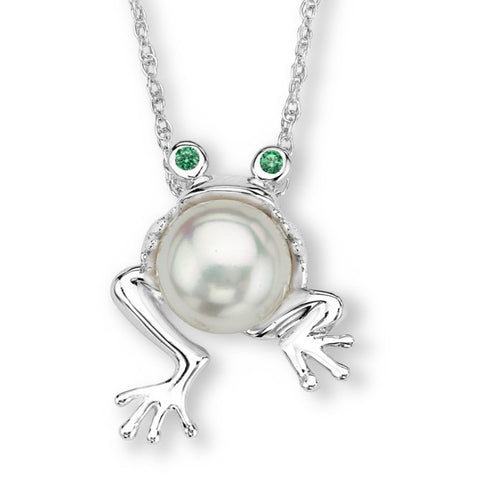 Silver Elegance Pearl Frog with CZ Eyes Pendant Necklace - Sterling Silver - Handmade -SESP1114