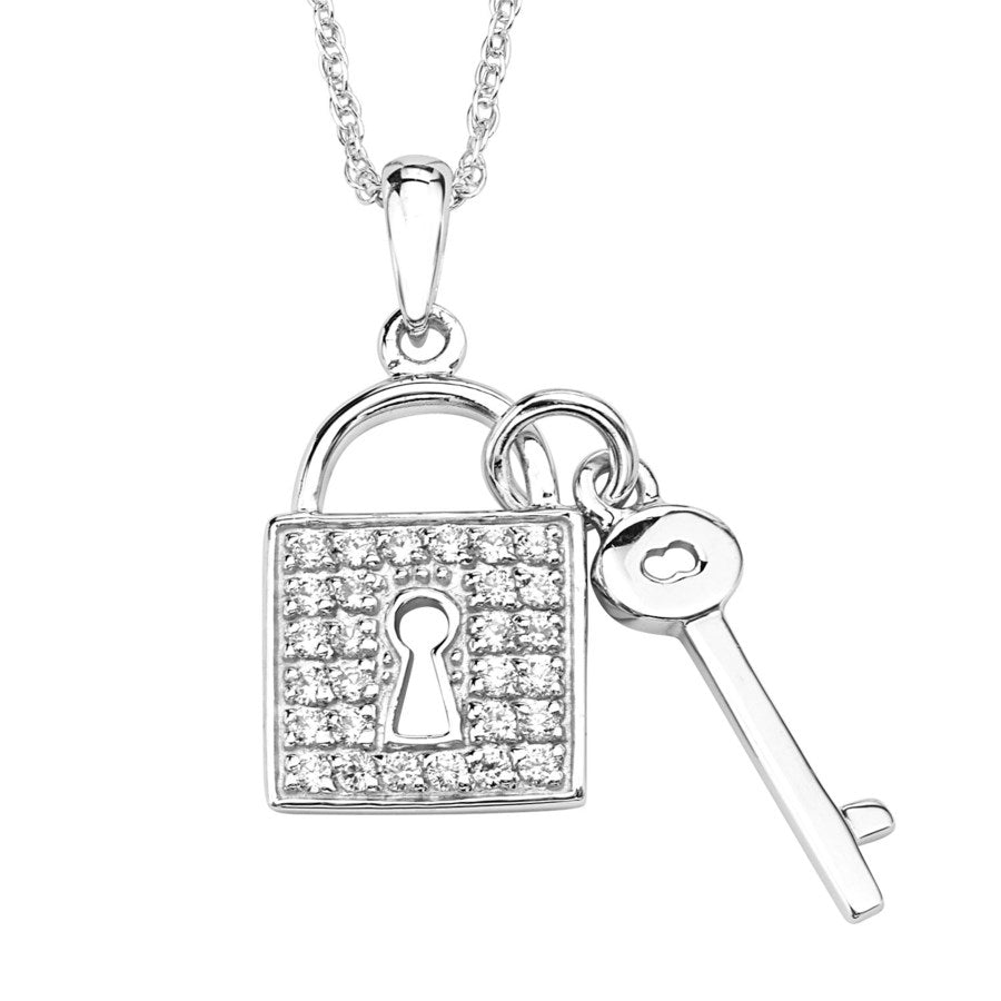 Silver Elegance CZ Key and Lock Necklace - Sterling Silver - Made to Order -  SESP1115