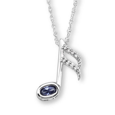 Silver Elegance CZ Music Note Pendant Necklace - Sterling Silver - Handmade -SESP1144