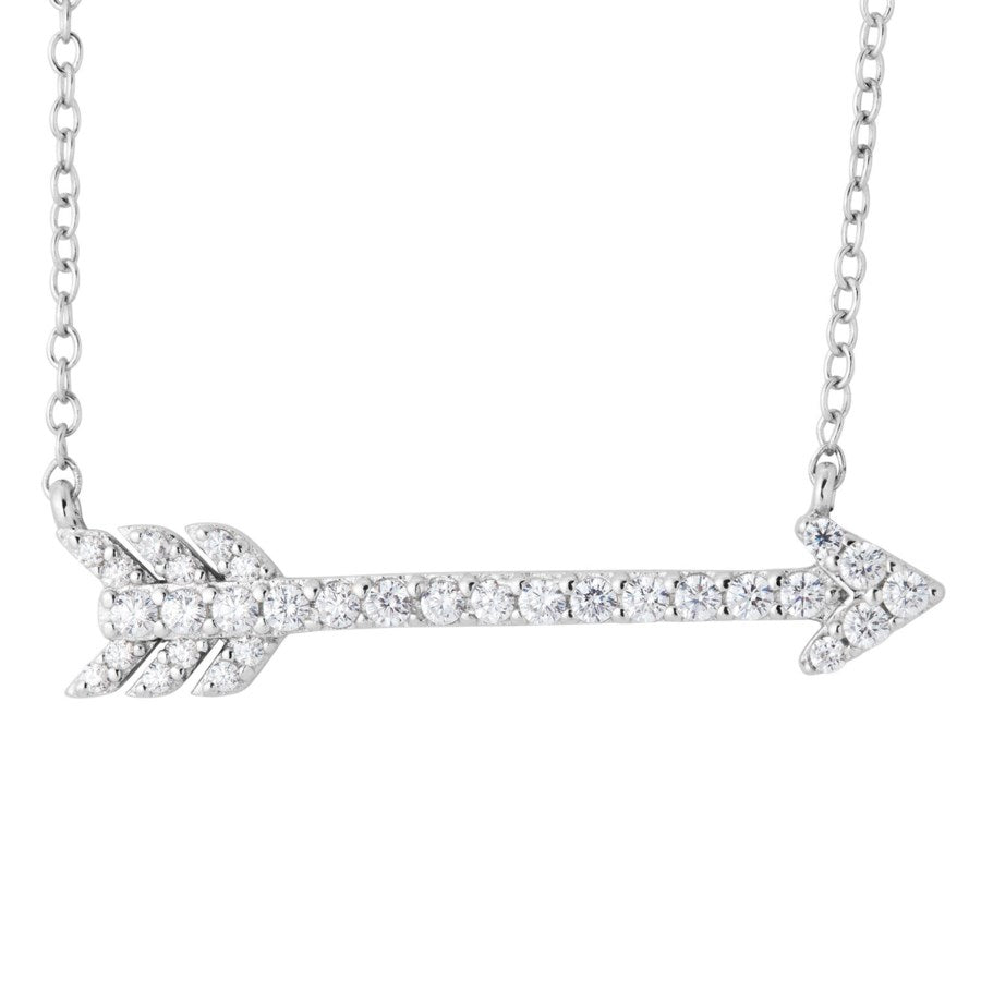 Silver Elegance CZ Sparkle Arrow Necklace - Sterling Silver - Made to Order - SESP1150