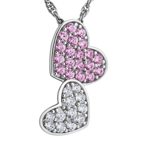 Silver Elegance Pink CZ Hearts Necklace - Sterling Silver - Made to Order - SESP1161