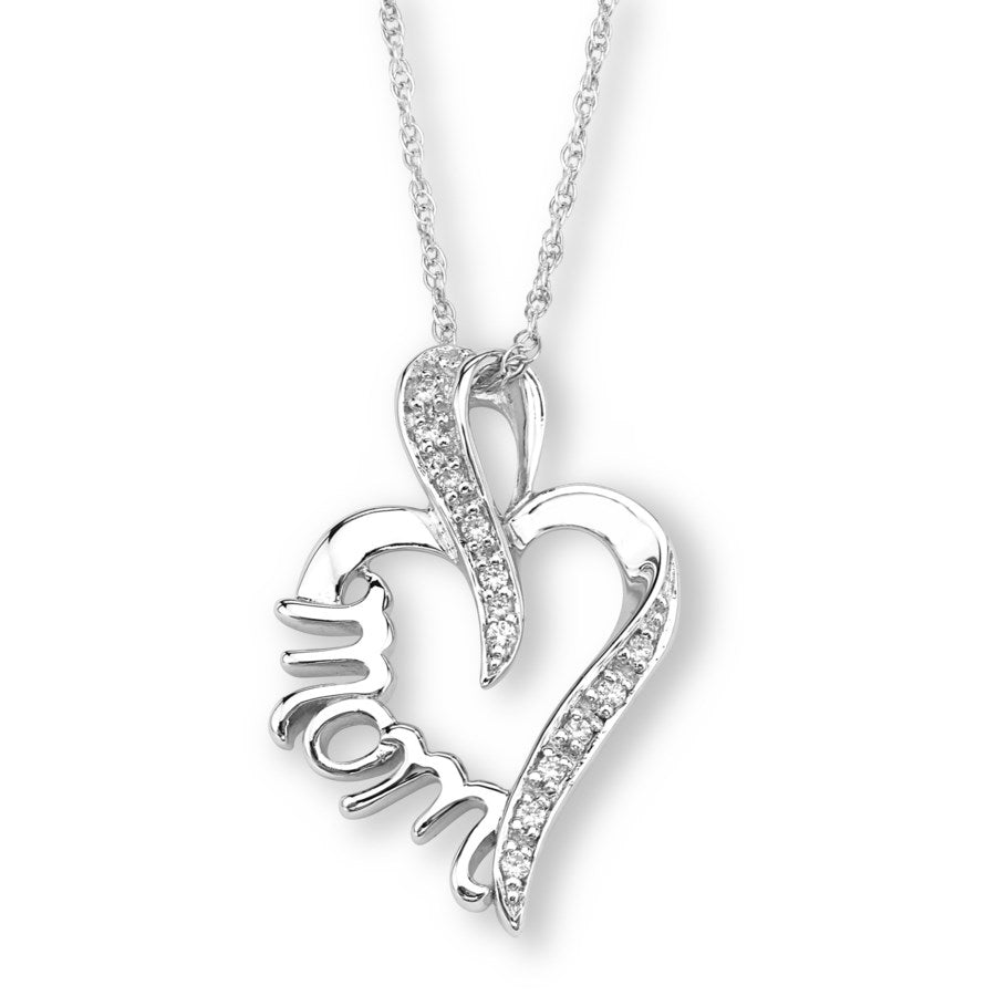 Silver Elegance CZ Mom Heart Necklace - Sterling Silver - Made to Order -  SESP1704CZ