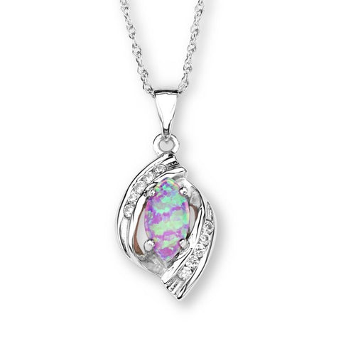 Silver Elegance Marquise Lab Opal and CZ's Pendant Necklace - Sterling Silver - Handmade - SESP535