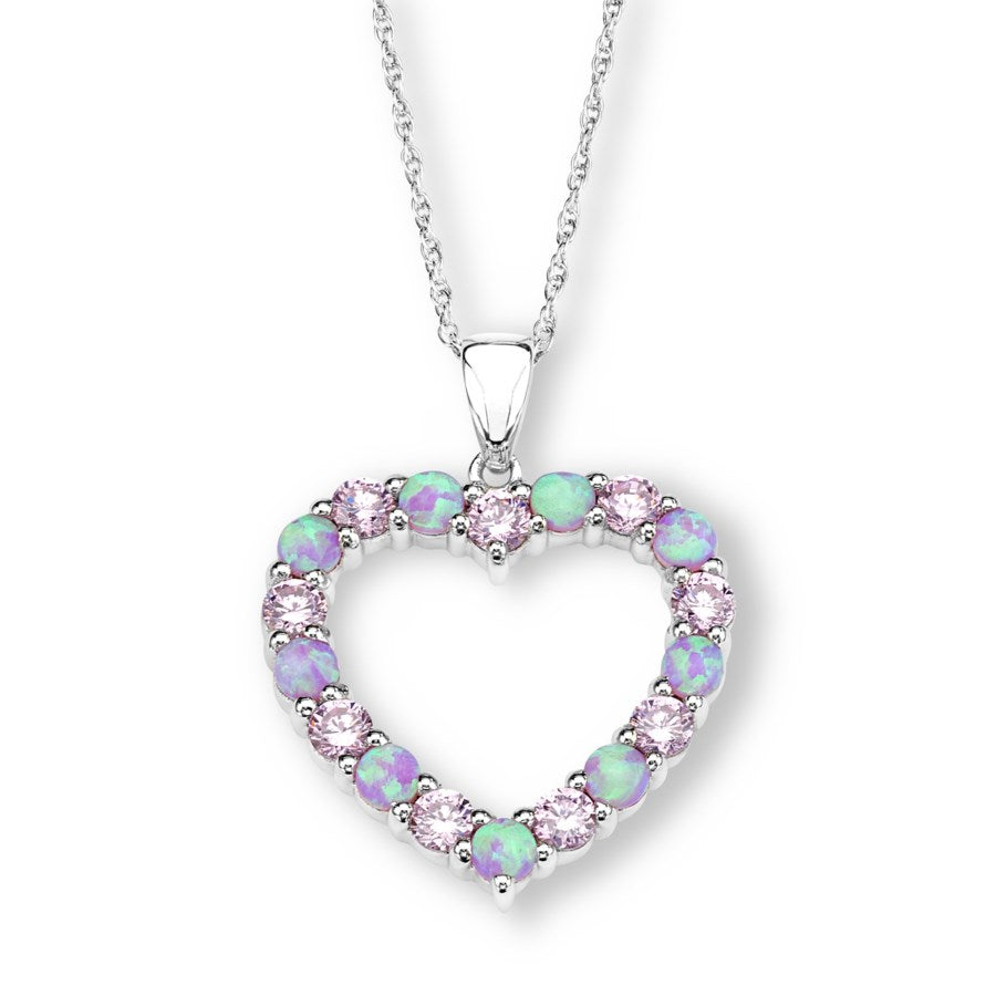 Silver Elegance Pink CZ and Lab Opal Heart Necklace - Sterling Silver - Made to Order -  SESP565
