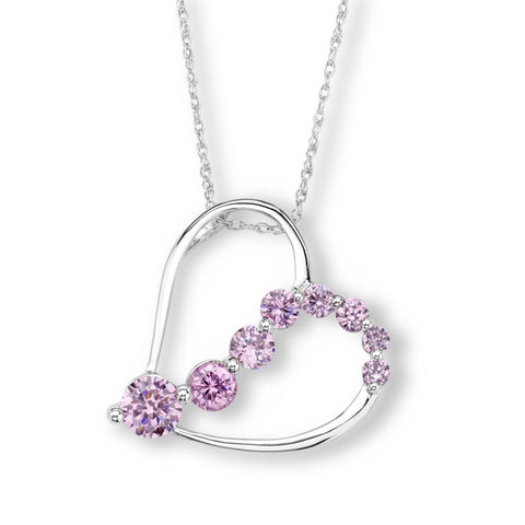 Silver Elegance CZ Swirl Heart Necklace - Sterling Silver - Made to Order -  SESP633