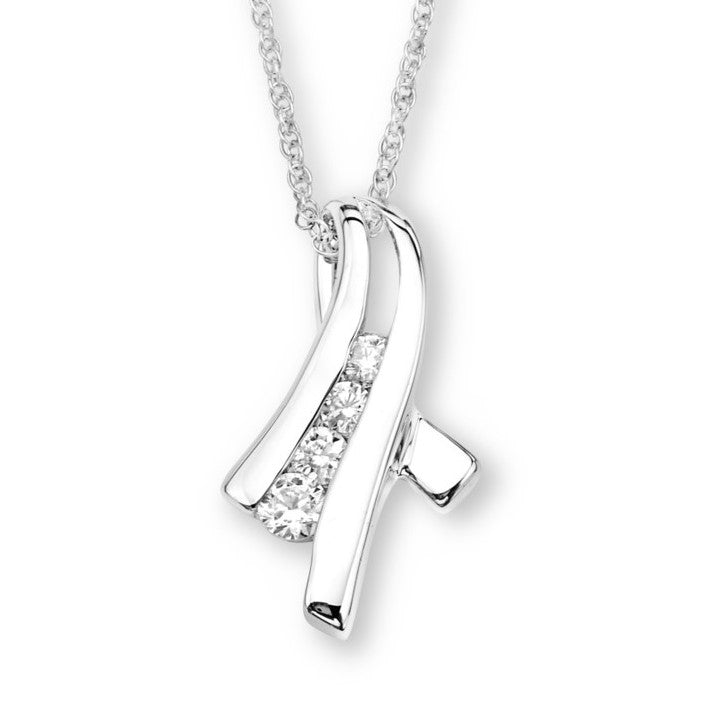 Silver Elegance Clear CZ's Channel Pendant Necklace - Sterling Silver - Handmade - SESP642