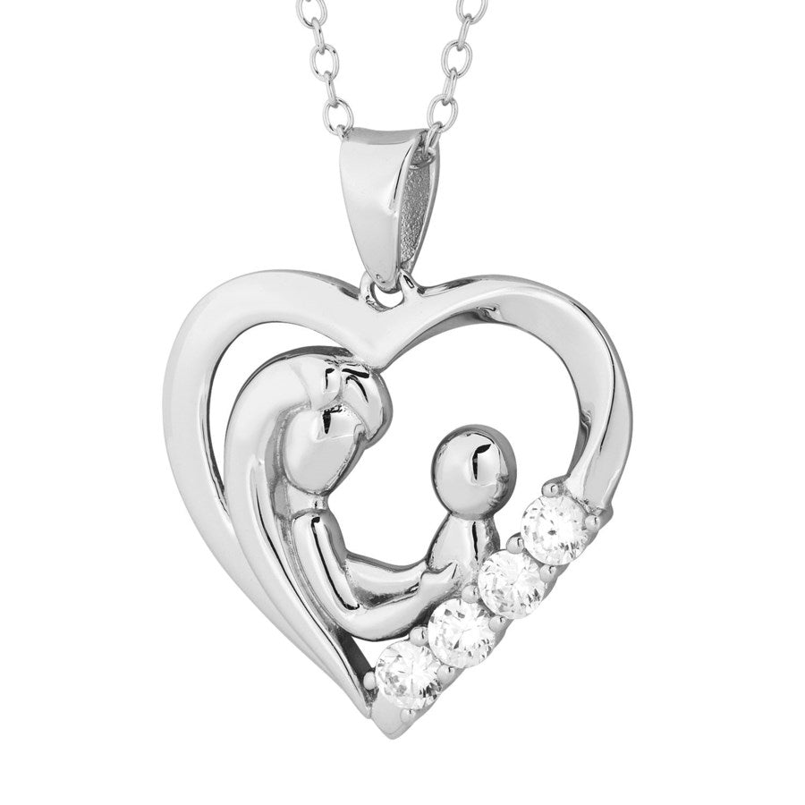 Silver Elegance CZ Love Heart Necklace - Sterling Silver - Made to Order -  SESP654