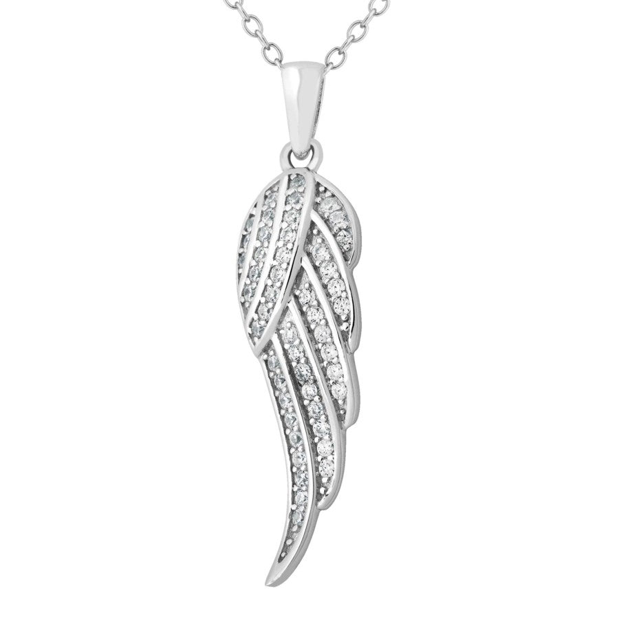 Silver Elegance CZ Angel Wing Necklace - Strerling Silver - Made to Order -  SESP758