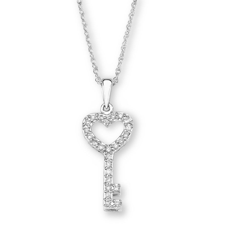 Silver Elegance CZ Key Necklace - Sterling Silver - Made to Order -  SESP828
