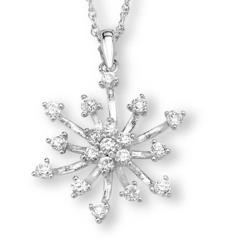 Silver Elegance Clear CZ's Snowflake Pendant Necklace - Sterling Silver - Handmade - SESP878
