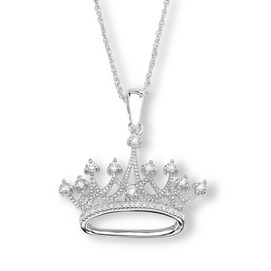 Silver Elegance CZ Crown Necklace - Sterling Silver - Made to Order - - SESP917