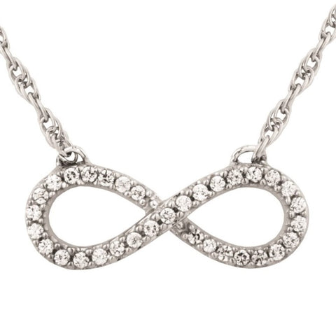 Silver Elegance Clear CZ's Infinity Pendant Necklace - Sterling Silver - Handmade - - SESP958